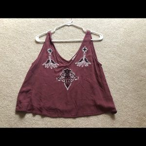 Dark red cropped tank top OBO